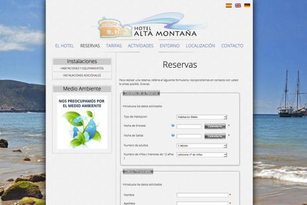 Increate Diseño Web - web corporativa hotel rural  Alta Montaña Reservas