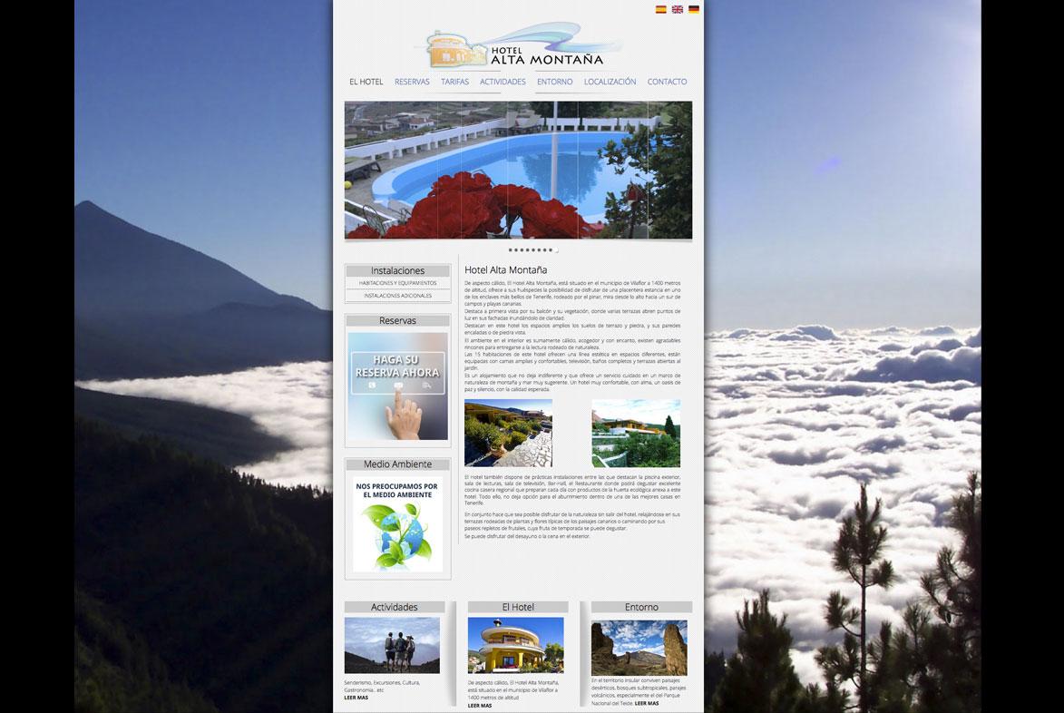 Increate Diseño Web - web corporativa hotel rural Alta Montaña
