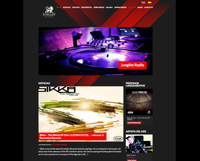 Increate diseño de tiendas virtuales. Tienda virtual de música JungleList Records
