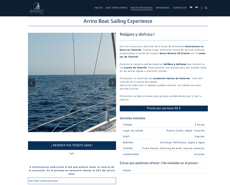 Increate diseño web tenerife - Portafolio de webs - Compra de Tickets arriroboat