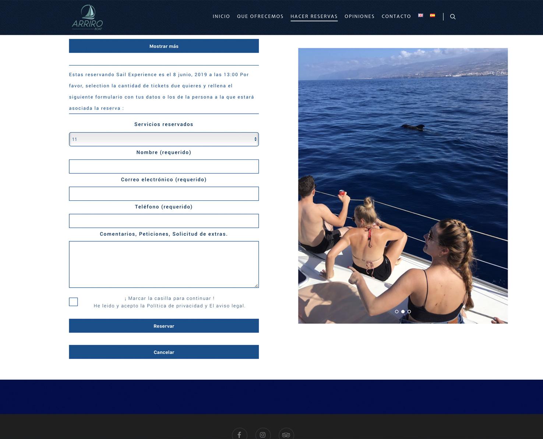 Increate diseño web tenerife - Portafolio de webs - Compra de Tickets arriroboat 4