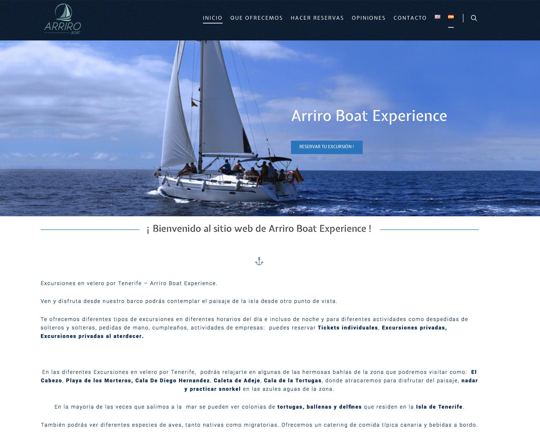 Increate diseño web tenerife - Portafolio de webs - Tienda virtual arriroboat