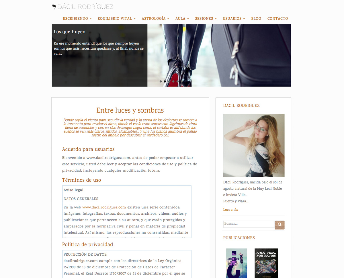 increate diseño web tenerife - portal web Dacil Rodriguez